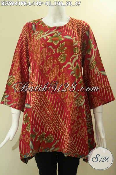 Blouse Batik Warna Merah Bahan Paris Halus Dan Nyaman Di Pakai, Baju Batik Solo Model A Tanpa Krah Lengan 7/8, Bisa Untuk Kerja Maupun Acara Resmi [BLS9641PR-L]