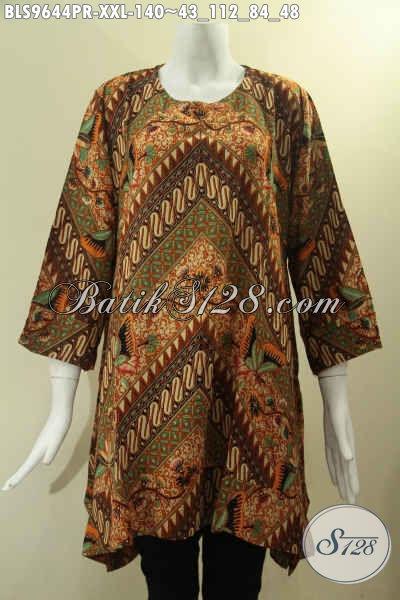 Baju Batik Wanita Gemuk Kwalitas Bagus Motif Elegan Klasik, Pakaian Batik Kekinian Model A Tanpa Krah Lengan 7/8, Pilihan Tepat Untuk Tampil Berkelas [BLS9644PR-XXL]