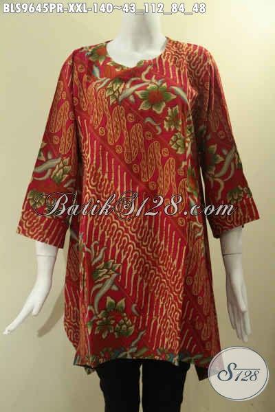 Blouse Batik Solo Modern, Pakaian Batik Wanita Gemuk Model A Lengan 7/8 Bahan Paris Halus Tanpa Krah Pakai Kancing 1 Di Belakang Hanya 100 Ribuan Saja [BLS9645PR-XXL]