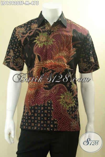 Kemeja Batik Pria Lengan Pendek Premium Daleman Full Furing, Baju Batik Mewah Untuk Kerja Motif Elegan Jenis Tulis, Penampilan Lebih Gagah Menawan [LD12920TF-M]