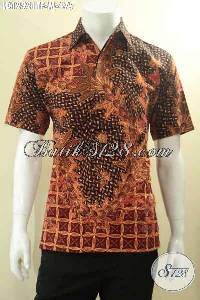 Kemeja Batik Tulis Istimewa Model Lengan Pendek Motif Bagus, Busana Batik Pria Muda Mapan Daleman Full Furing, Tampil Lebih Percaya Diri [LD12921TF-M]