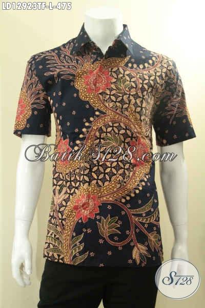 Baju Batik Pria Motif Terkini Model Lengan Pendek Jenis Tulis, Kemeja Batik Solo Premium Daleman Full Furing, Tampil Gagah Dan Mewah [LD12923TF-L]