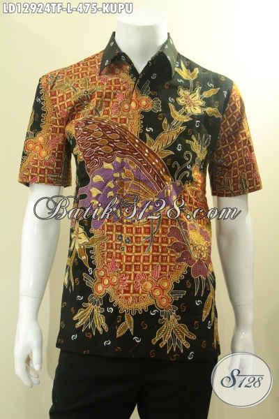 Kemeja Batik Pria Jenis Tulis Motif Kupu Kwalitas Premium Full Furing, Busana Batik Solo Asli Model Lengan Pendek, Pilihan Tepat Untuk Acara Resmi Maupun Santai [LD12924TF-L]