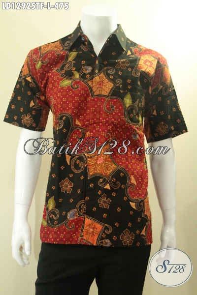 Busana Batik Tulis Lengan Pendek Istimewa Untuk Pria Kantoran, Baju Batik Premium Full Furing Motif Bagus, Bisa Juga Untuk Kondangan [LD12925TF-L]