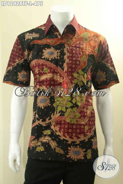 Koleksi Terbaru Pakaian Batik Pria Khas Solo, Kemeja Lengan Pendek Nan Modis Bahan Halus Motif Elegan Proses Tulis, Pilihan Tepat Untuk Acara Resmi Dan Seragam Kantor [LD12928TF-L]