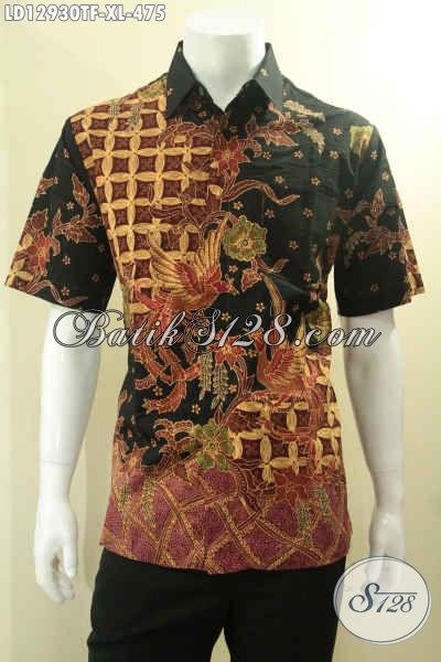 Produk Baju Batik Solo Kwalitas Premium Jenis Tulis, Baju Batik Kemeja Lengan Pendek Untuk Pria Dewasa Motif Bagus Daleman Full Furing, Bisa Untuk Acara Resmi Dan Ke Kondangan [LD12930TF-XL]