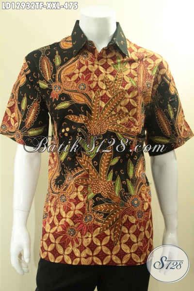 Busana Batik Solo Lengan Pendek Mewah Spesial Untuk Pria Gemuk, Pakaian Batik Tulis Motif Terbaru Nan Elegan  Daleman Full Furing, Penampilan Lebih Gagah Berkelas [LD12932TF-XXL]