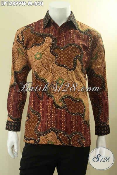 Kemeja Batik Premium Lengan Panjang Jenis Tulis Motif Elegan Daleman Full Furing, Busana Batik Pria Muda Untuk Tampil Gagah Berwibawa [LP12899TF-M]