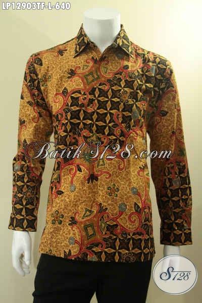 Produk Baju Batik Solo Mewah Buatan Solo, Pakaian Batik Tulis Lengan Panjang Istimewa Daleman Full Furing, Bisa Untuk Seragam Kerja Maupun Acara Resmi [LP12903TF-L]