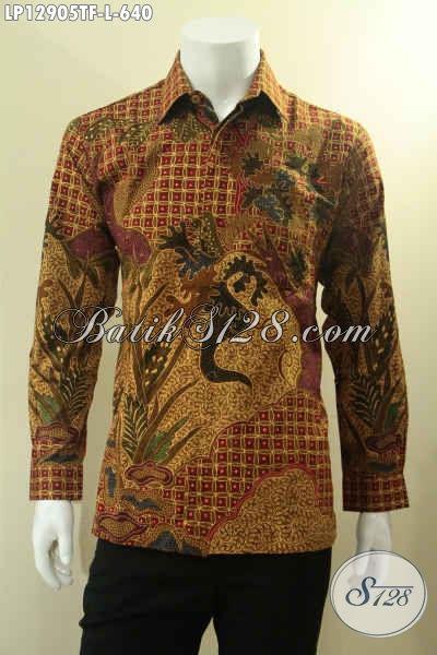 Koleksi Terkini Kemeja Batik Tulis Mewah Khas Pejabat Asli Buatan Solo, Baju Batik Mewah Full Furing Motif Bagus, Penampilan Lebih Percaya Diri [LP12905TF-L]