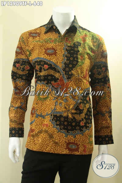 Toko Baju Batik Online Pling Terpercaya, Jual Kemeja Batik Tulis Mewah Khas Solo Model Lengan Panjang Cocok Untuk Acara Resmi Dan Rapat Daleman Full Furing [LP12909TF-L]