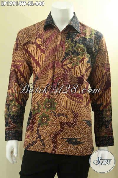 Pakaian Batik Pria Mewah Lengan Panjang Pakai Furing, Busana Batik Istimewa Jenis Tulis Desain Berkelas, Pas Banget Untuk Acara Formal [LP12914TF-XL]