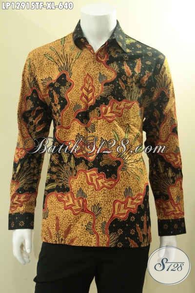 Kemeja Batik Istimewa Jenis Tulis Model Lengan Panjang Full Furing, Pakaian Batik Kerja Pria Kantoran Untuk Penampilan Terlihat Gagah Dan Mewah [LP12915TF-XL]