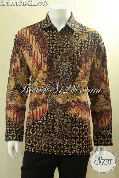 Jual Kemeja Batik Premium Big Size XXL, Baju Batik Pria Gemuk Lengan Panjang Mewah Pakai Furing Bahan Halus Motif Mewah Tulis Asli [LP12916TF-XXL]