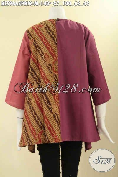 Jual Baju Blouse Batik Wanita Desain Modis Dan Berkelas, Busana Batik Atasan Kombinasi Kain Polos Katun Ima Lengan 3/4 Tanpa Krah Di Lengkapi Kancing Belakang [BLS9665PBI-M]