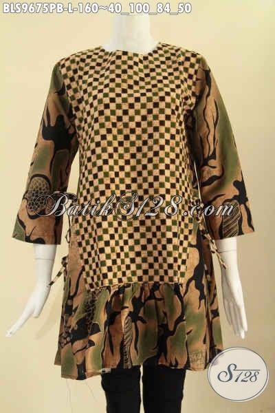 Batik Blouse Solo Modern 2 Motif Model Lengan 7/8, Atasan Batik Trendy Wanita Masa Kini Tanpa Krah Pakai Resleting Belakang Dan Bertali Di Bagian Pinggang Kanan Kiri, Cocok Untuk Kerja Dan Jalan-Jalan [BLS9675PB-L]