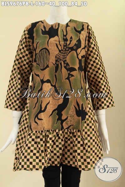 Jual Batik Blouse Solo Masa Kini 2 Motif, Pakaian Batik Trendy Tanpa Krah Di Lengkapi Resleting Belakang Lengan 7/8 Dan Pakai Tali Di Bagian Pinggang Kanan Kiri, Tampil Gaya Kekinian [BLS9676PB-L]