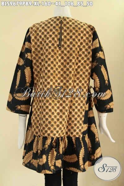Atasan Batik Wanita Karir Model Terbaru Tanpa Krah, Busana Batik Modis 2 Motif Lengan 7/8 Bahan Halus Di Lengkapi Tali Di Bagian Pinggang Kanan Kiri [BLS9679PB-XL]
