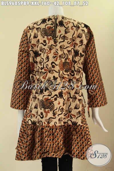 Produk Baju Batik Wanita Tren Mode Masa Kini, Atasan Batik Trendy Lengan 7/8 Tanpa Krah Bahan Halus Nyaman Di Pakai, Baju Batik 2 Motif Di Lengkapi Resleting Belakang [BLS9685PB-XXL]