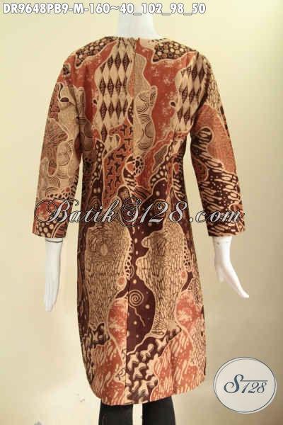 Dress Batik Wanita Model Resleting Belakang, Busana Batik Istimewa Lengan Panjang Motif Bagus Berbahan Halus Dan Nyaman Di Pakai [DR9648PB-M]