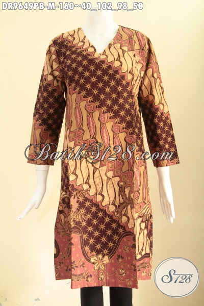 Busana Batik Wanita Nan Berkelas Untuk Kerja Dan Acara Resmi, Dress Batik Istimewa Motif Elegan Klasik Model Resleitng Belakang Lengan Panjang, Tampil Lebih Mempesona [DR9649PB-M]