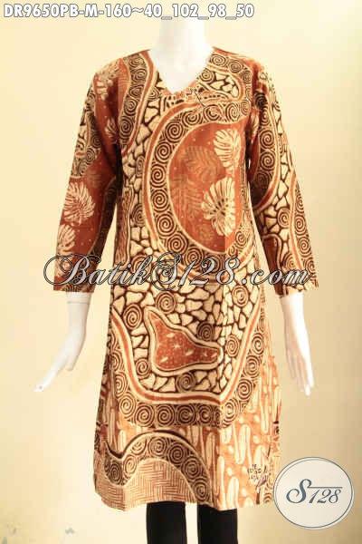 Dress Batik Wanita Muda Lengan Panjang Motif Elegan, Busana Batik Solo Asli Nan Istimewa Model Raleting Belakang, Bikin Penampilan Wanita Lebih Berkelas [DR9650PB-M]