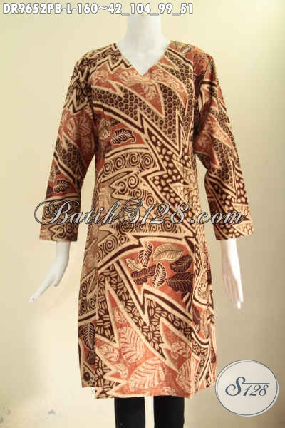 Dress Batik Solo Masa Kini, Pakaian Batik Wanita Terbaru Yang Menunjang Penampilan Lebih Cantik Dan Gaya, Model Resleting Belakang Lengan Panjang Bahan Halus Motif Elegan [DR9652PB-L]