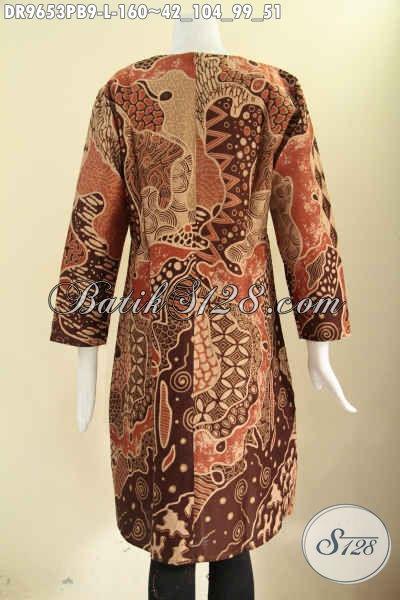 Jual Dress Batik Solo Untuk Wanita Motif Kekinian, Hadir Dengan Model Resleting Belakang Lengan Panjang Bahan Adem, Pas Banget Untuk Seragam Kerja Kantoran [DR9653PB-L]