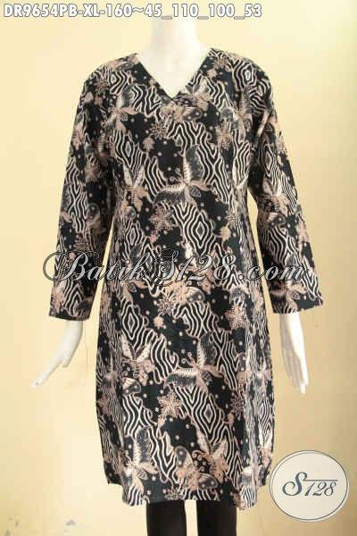 Dress Batik Wanita Dewasa Size XL, Model Resleting Belakang Lengan Panjang Halus Motif Terbaru Jenis Print Cabut, Cocok Untuk Acara Santai Dan Resmi Tampil Berkelas [DR9654PB-XL]
