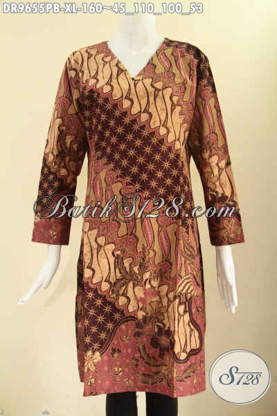 Batik Dress Asli Buatan Solo, Busana Batik Modern Khas Jawa Tengah Kwalitas Istimewa Motif Elegan Bahan Halus Nyaman Di Pakai, Model Resleting Belakang Lengan 7/8 [DR9655PB-XL]