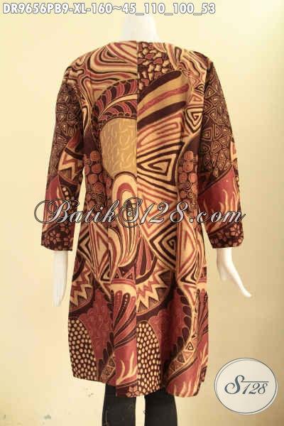 Toko Online Busana Batik Paling Lengkap, Jual Dress Batik Model Resleting Belakang Lengan Panjang Halus Cocok Buat Ngantor Dan Acara Resmi [DR9656PB-XL]
