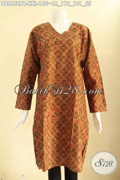 Jual Busana Batik Dress Modern Motif Elegan Khas Solo, Baju Batik Wanita Gemuk Lengan Panjang Pakai Resleting Belakang, Pilihan Tepat Untuk Penampilan Lebih Sempurna [DR129658PB-XXL]