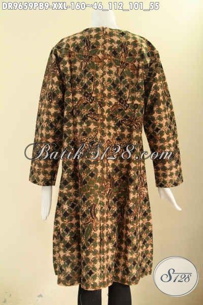 Dress Batik Modis Spesial Buat Wanita Gemuk, Busana Batik Solo Asli Motif Bagus Model Resleting Belakang Kwalitas Istimewa, Hadir Dengan Harga Terjangkau [DR9659PB-XXL]