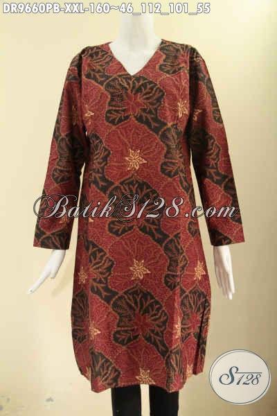 Dress Batik Big Size Motif Terkini Kwalitas Bagus, Busana Wanita Gemuk Model Resleting Belakang Lengan 7/8, Pilihan Tepat Untuk Seragam Kerja Dan Ke Kondangan [DR9660PB-XXL]
