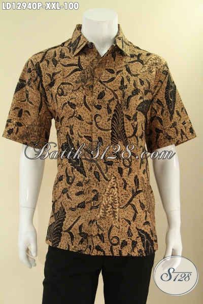 Kemeja Batik Keren Big Size XXL, Baju Batik Pria Gemuk Model Lengan Pendek Motif Klasik, Pas Banget Buat Ngantor Maupun Kondangan Tampil Gagah Menawan [LD12940P-XXL]