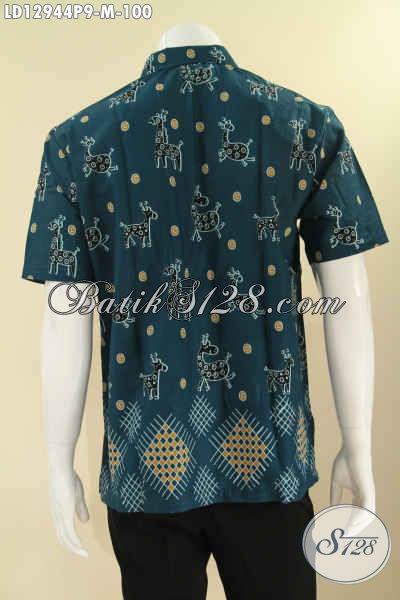 Kemeja Batik Modis Motif Modern Berpadu Warna Keren Kekinian, Pakaian Batik Pria Yang Modis Buat Kerja Dan Hangout Model Lengan Pendek Asli Solo [LD12944P-M]