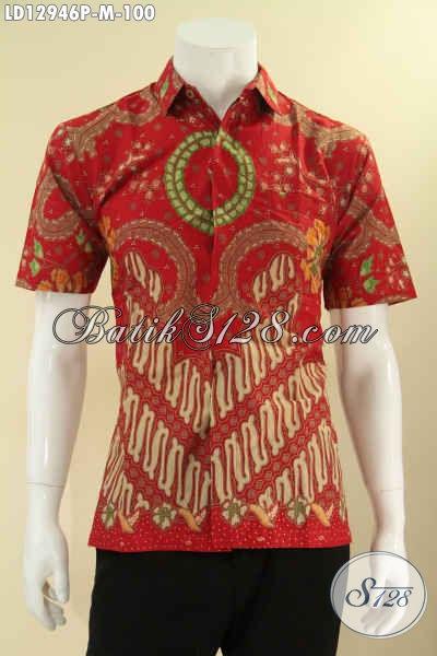 Kemeja Batik Motif Klasik Warna Merah Model Lengan Pendek, Busana Batik Solo Asli Kwalitas Istimewa Dengan Harga Biasa [LD12946P-M]