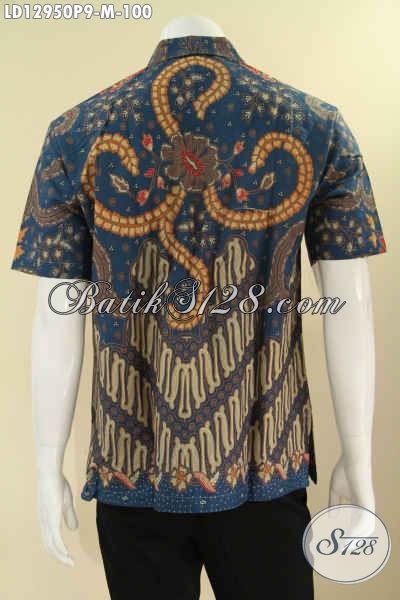 Kemeja Batik Solo Terkini Hadir Dengan Motif Elegan Klasik Model Lengan Pendek, Pakaian Batik Halus Untuk Kerja Yang Nyaman Di Pakai [LD12950P-M]