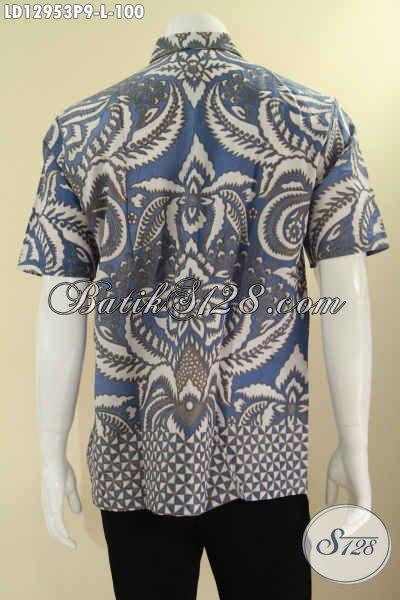 Jual Baju Batik Modis Buatan Solo Model Lengan Pendek Untuk Seragam Kerja Maupun Ke Acara Resmi, Pakaian Batik Kekinian Motif Elegan Jenis Printing Yang Anti Luntur [LD12953P-L]