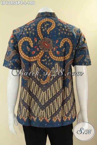 Jual Produk Pakaian Batik Pria Terbaru Desain Berkelas Motif Elegan Klasik Berpadu Warna Trendy Kekinian, Kemeja Batik Solo Lengan Pendek Halus Nyaman Di Pakai Kerja Kantoran [LD12956P-L]