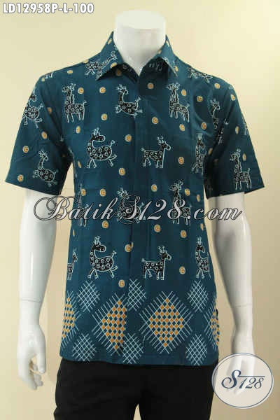 Kemeja Batik Gaul Pria Masa Kini, Busana Batik Modis Model Lengan Pendek Berpadu Motif Unik, Pria Tampil Gaya Dan Kekinian [LD12958P-L]