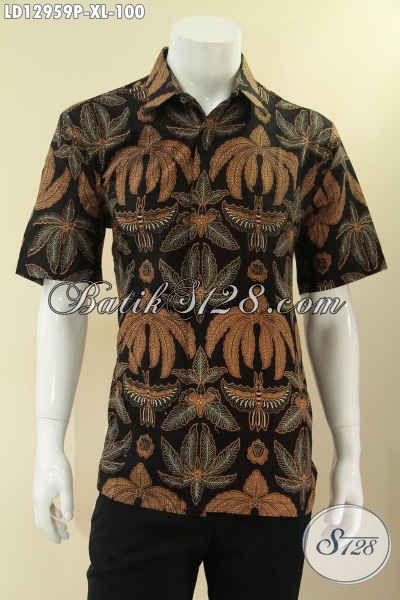 Koleksi Paling Baru Busana Batik Pria Model Lengan Pendek, Pakaian Batik Solo Asli Motif Bagus Jenis Printing, Pilihan Tepat Untuk Seragam Kerja Kantor [LD12959P-XL]