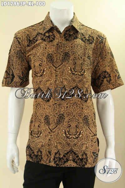 Koleksi Terkini Baju Batik Pria Hadir Dengan Motif Klasik Proses Printing, Kemeja Lengan Pendek Halus Bahan Adem Bisa Untuk Acara Resmi Maupun Kondangan [LD12963P-XL]