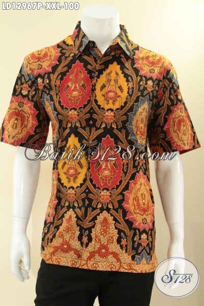 Jual Baju Batik Pria Gemuk Lengan Pendek Modis Dengan Motif Elegan Khas Solo, Pakaian Batik Trendy Jenis Printing Kwalitas Istimewa Untuk Penampilan Yang Mempesoan [LD12967P-XXL]