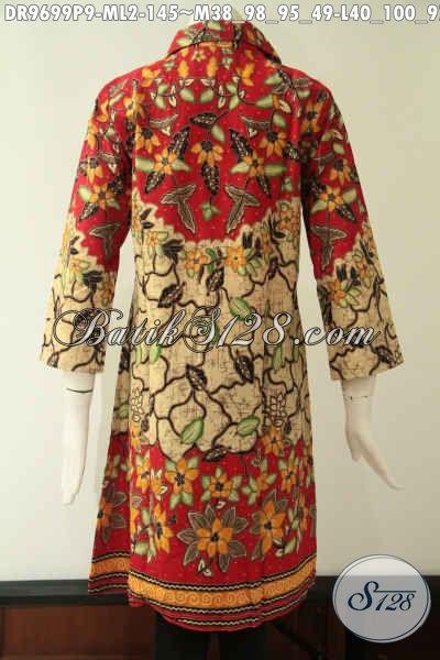 Dress Batik Model Krah Dengan Lengan 7/8  Dan Pakai Kancing Depan Sampai Bawah, Baju Batik Wanita Masa Kini Motif Trendy Kwalitas Bagus Harga Terjangkau [DR9699P-M , L]