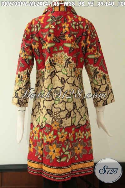 Jual Dress Batik Modern Untuk Wanita Tampil Cantik Dan Bergaya, Hadir Dengan Model Krah Lengan 7/8 Serta D Lengkapi Kancing Depan Sampai Bawah, Pas Untuk Kerja Maupun Acara Resmi [DR9700P-M , L , XL]