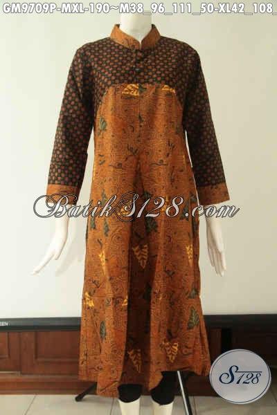 Produk Baju Gamis Wanita Dual Motif Klasik Model Lengan Panjang Krah Shanghai, Abaya Batik Modern Pakai Kancing Bathok Sampai Dada Pas Banget Untuk Acara Resmi Dan Berkelas [GM9709P-M , XL]