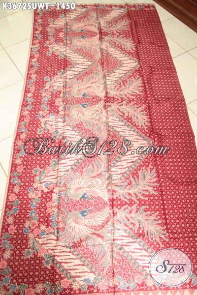 Kain Batik Warna Merah Motif Bagus Jenis Tulis Sutra Twis Buatan Solo, Batik Premium Bahan Busana Istimewa Dan Berkelas Cocok Untuk Baju Resmi Maupun Santai [K3672SUWT-240x105cm]