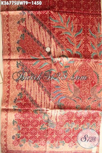 Produk Kain Batik Mewah Motif Elegan Khas Jawa Tengah, Batik Tulis Premium Sutra Twis Bahan Pakaian Kerja Dan Acara Resmi Yang Membuat Penampilan Makin Berkelas [K3677SUWT-240x105cm]
