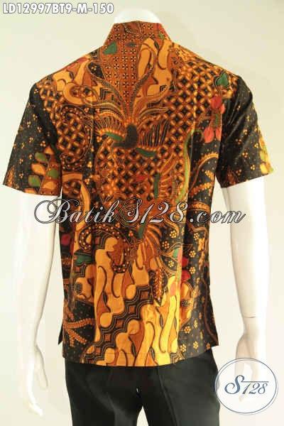Baju Batik Cowok Lengan Pendek Halus Kwalitas Bagus Harga Terjangkau, Kemeja Batik Solo Motif Terkini Yang Menunjang Penampilan Lebih Gagah Dan Tampan [LD12997BT-M]